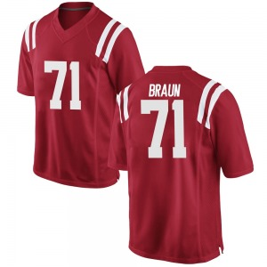 Tobias Braun Nike Ole Miss Rebels Youth Game Football College Jersey - Red